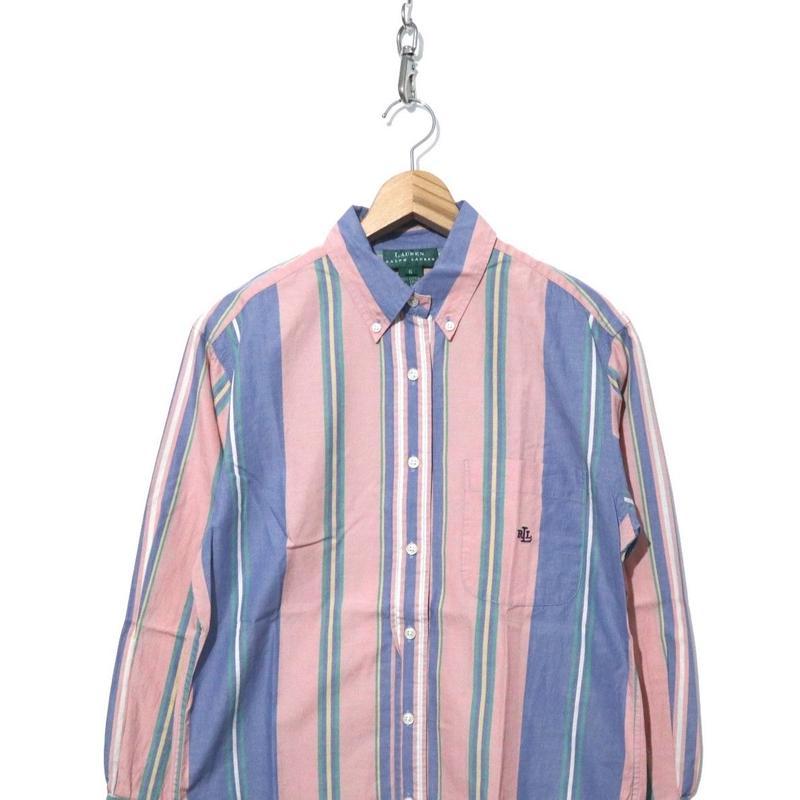 90's~ Lauren マルチストライプ ボタンダウン シャツ Pink×Blue