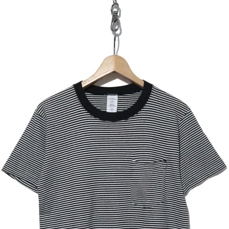 90's  JC Penny 細ピッチ ボーダーポケットTシャツ Black×White