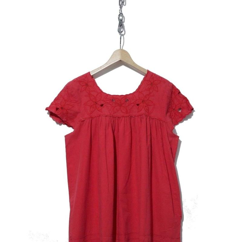 レディースビンテージ 透かし刺繍 メキシカン ワンピース コットン100% RED