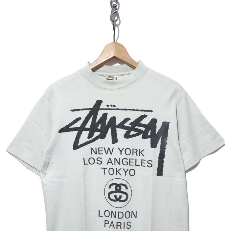 """90's OLD STUSSY 両面プリント Tシャツ """"WORLD TOUR"""" 白タグ USA製"""