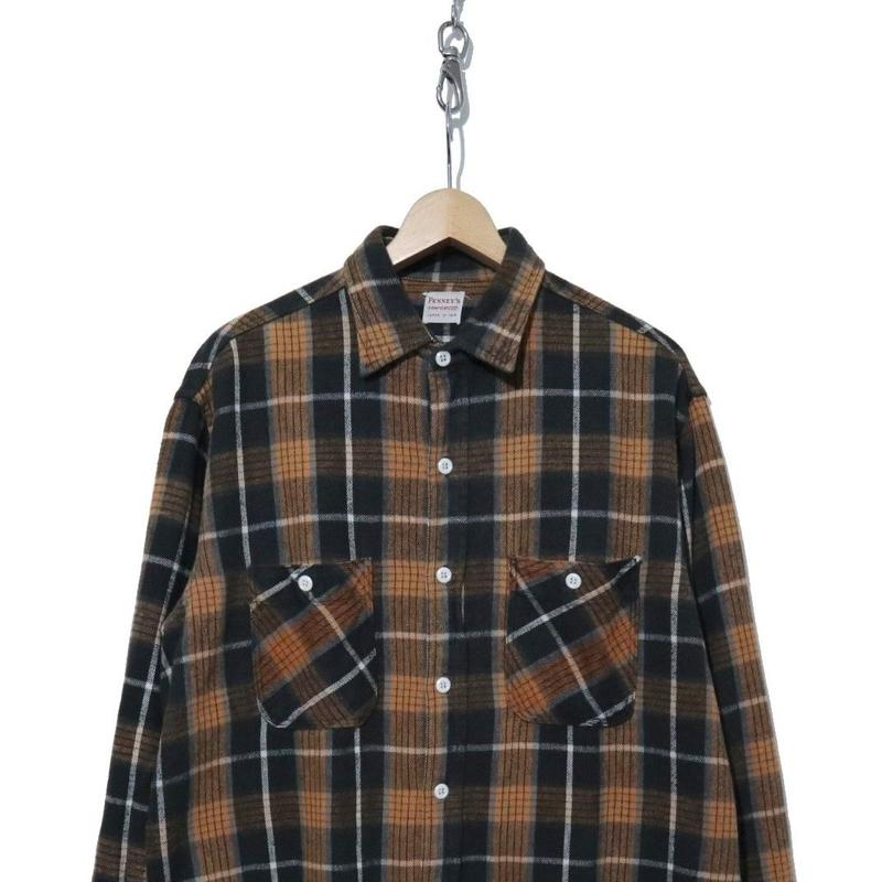"60's PENNY'S チェック ヘビーネルシャツ ""BLACK×BROWN"""