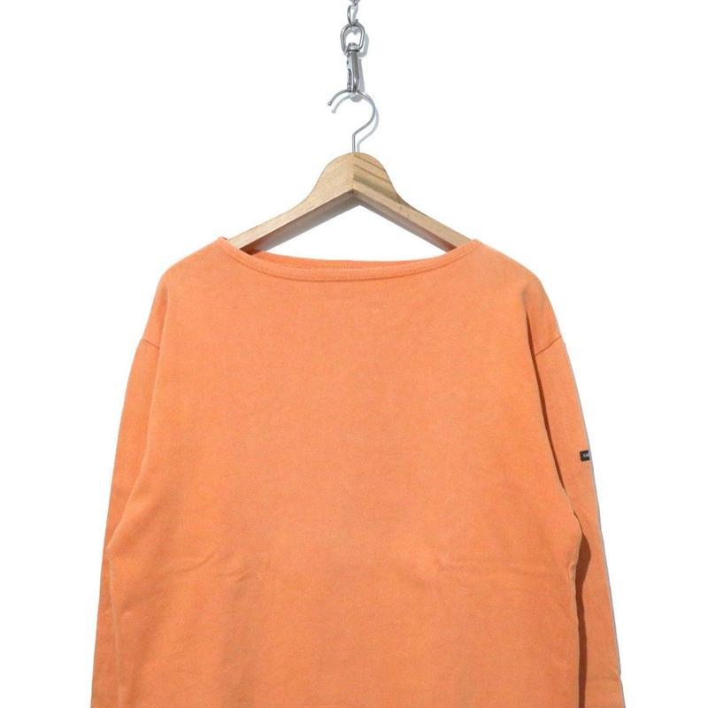 """SAINT JAMES 無地 バスクシャツ """"ウエッソン"""" Orange Lサイズ"""