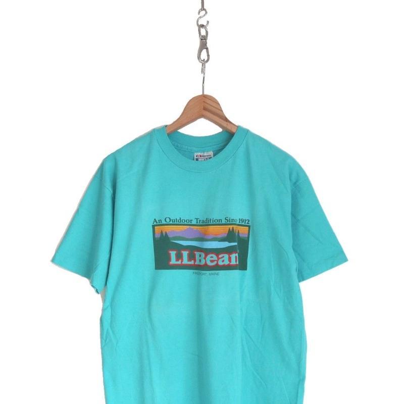 90's Hanes LL Bean プリント Tシャツ Turquoise XLサイズ USA製