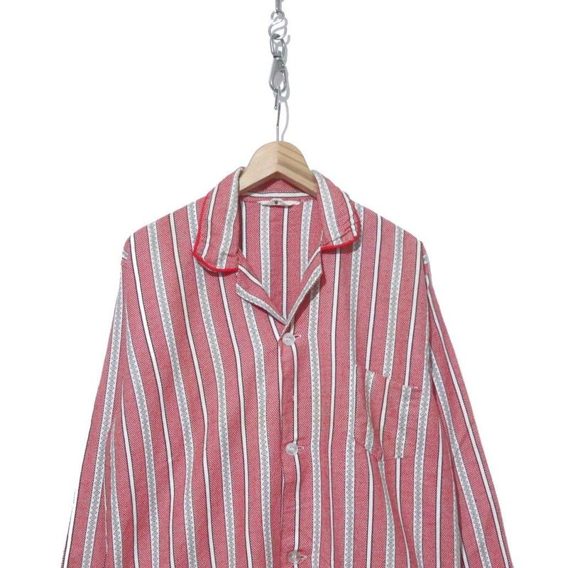 60's~ Tomlen チェッカーフラッグ×渦巻柄ストライプ パジャマシャツ