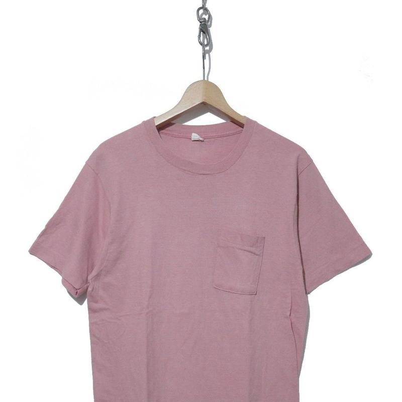 70's FRUIT OF THE LOOM 角ポケ 無地 コットン100% Tシャツ PINK