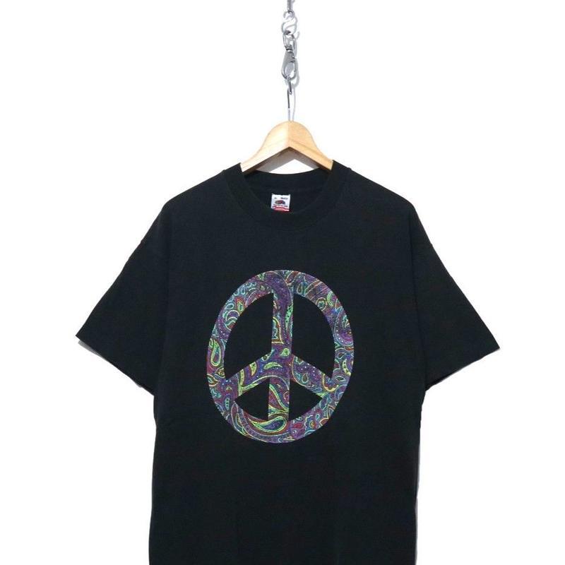 "90's FRUIT OF THE LOOM ""Paisley Peace"" Tシャツ USA製 XLサイズ"