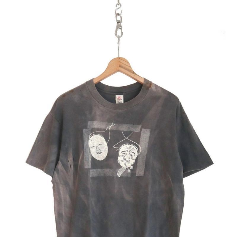 "70's HI CRU 能面プリント アート Tシャツ ""グッドフェイド"" Lサイズ USA製"
