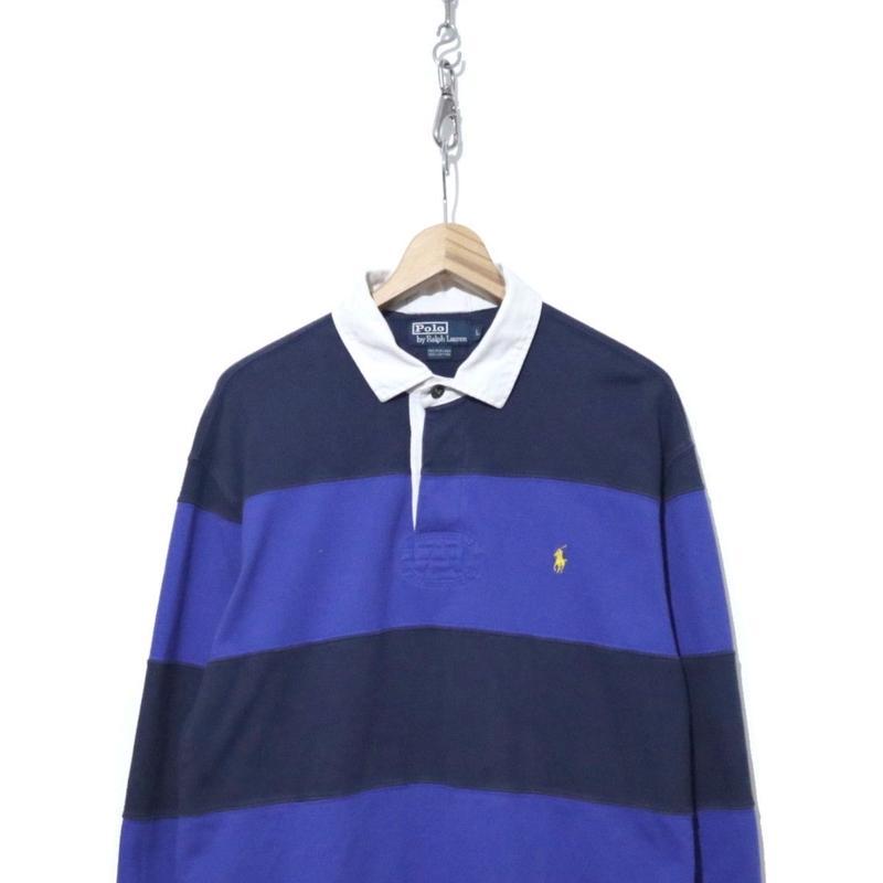 90's~ POLO Ralph Lauren 太ボーダー ラガーシャツ Lサイズ