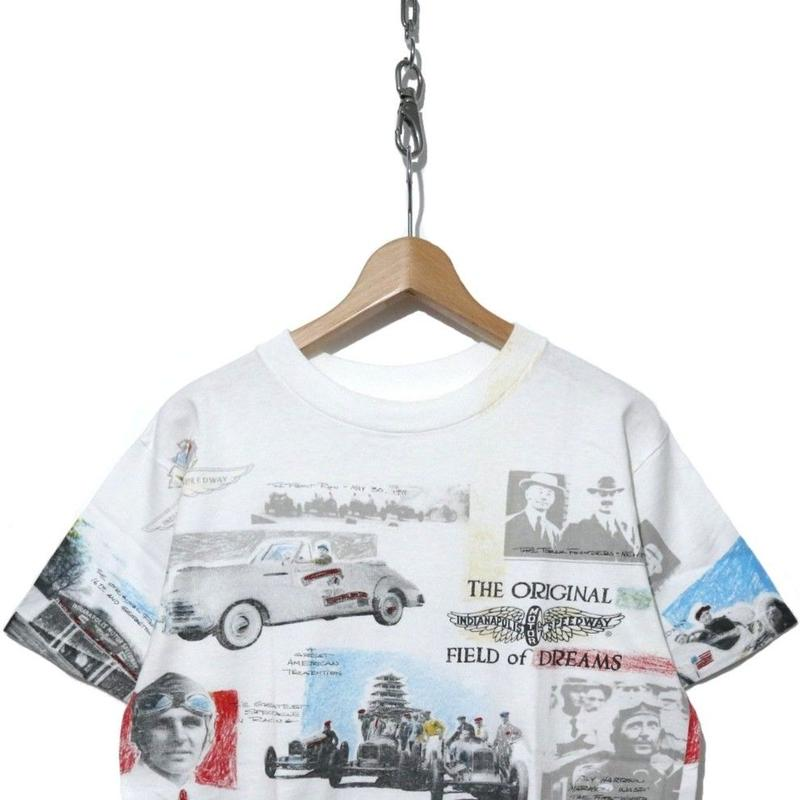 """90's """"INDIANA POLIS SPEEDWAY"""" 総柄 オーバープリント Tシャツ USA製"""