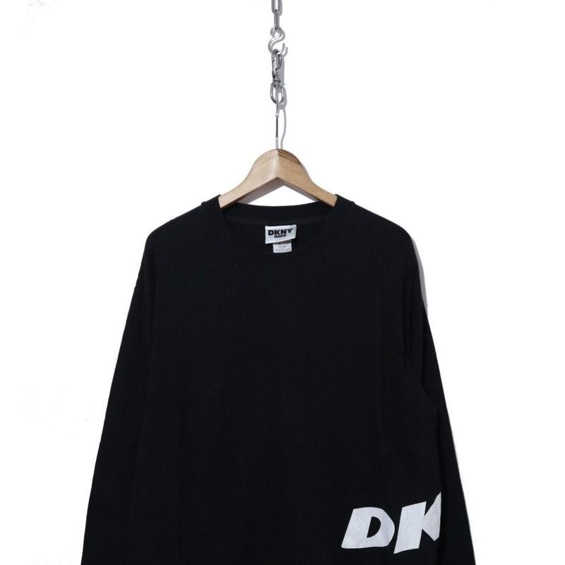 90's DKNY サイドロゴプリント L/S Tシャツ BLK