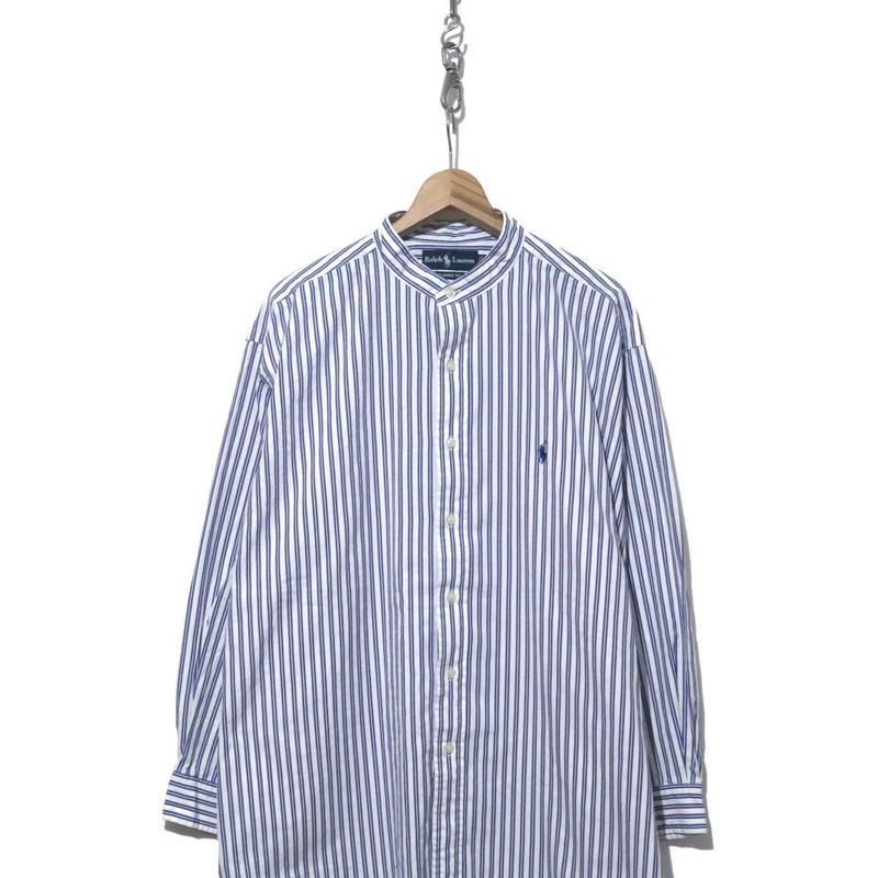 90'~ Ralph Lauren ノーカラー ストライプ ロング丈シャツ White×Blue