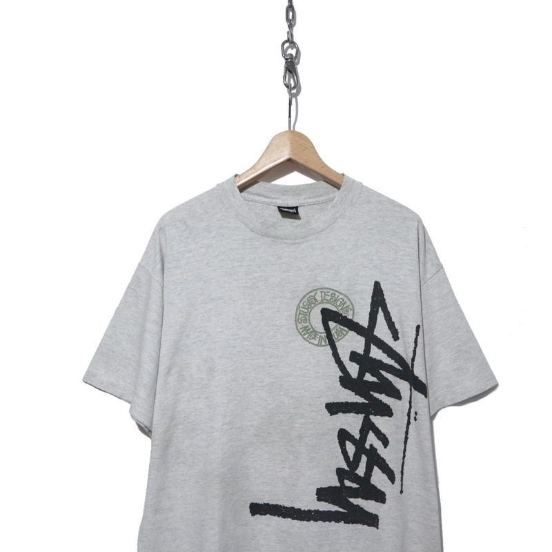 "90's OLD STUSSY プリントTシャツ ""Buana Stock Logo"" 黒タグ USA製"