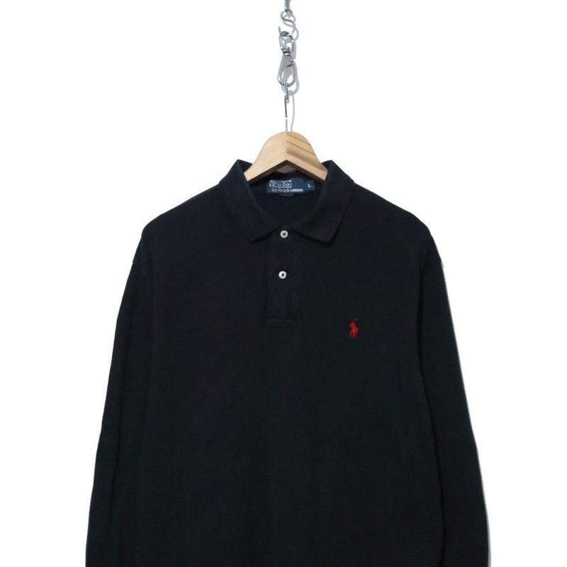 90's~  Polo Ralph Lauren 鹿の子 長袖ポロシャツ BLACK Lサイズ
