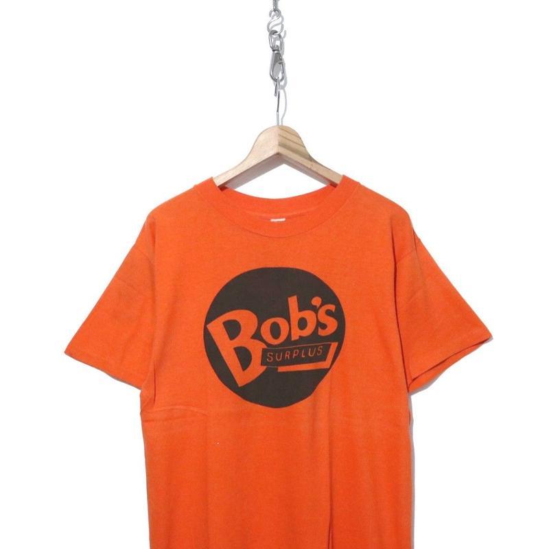 "80's ""Bob's SURPLUS"" 両面 ファニープリント Tシャツ ORANGE"