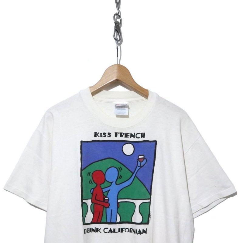 "90's  POP ART プリントTシャツ Hanes ""KISS FRENCH"""