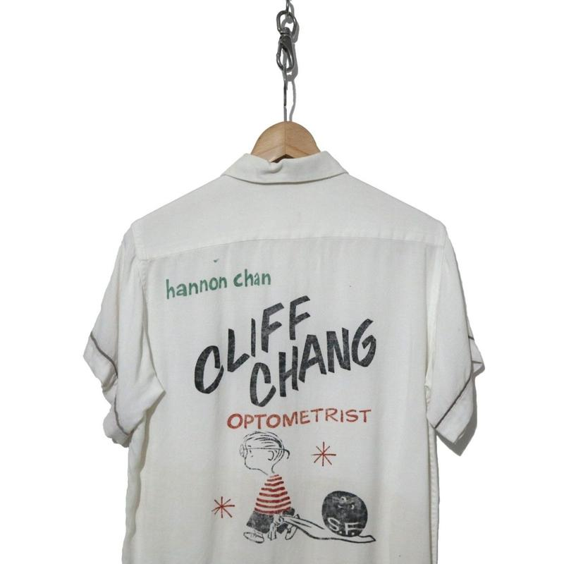 "50's レーヨンボーリングシャツ バックプリント WHITE ""Linus"""