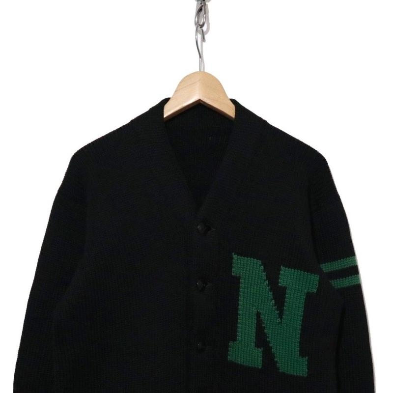 60's ローゲージ レタードカーディガン 編み込みロゴ BLACK×GREEN