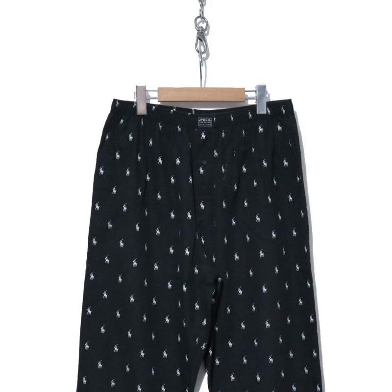 90's~ POLO RALPH LAUREN  ポニー総柄 パジャマパンツ BLACK