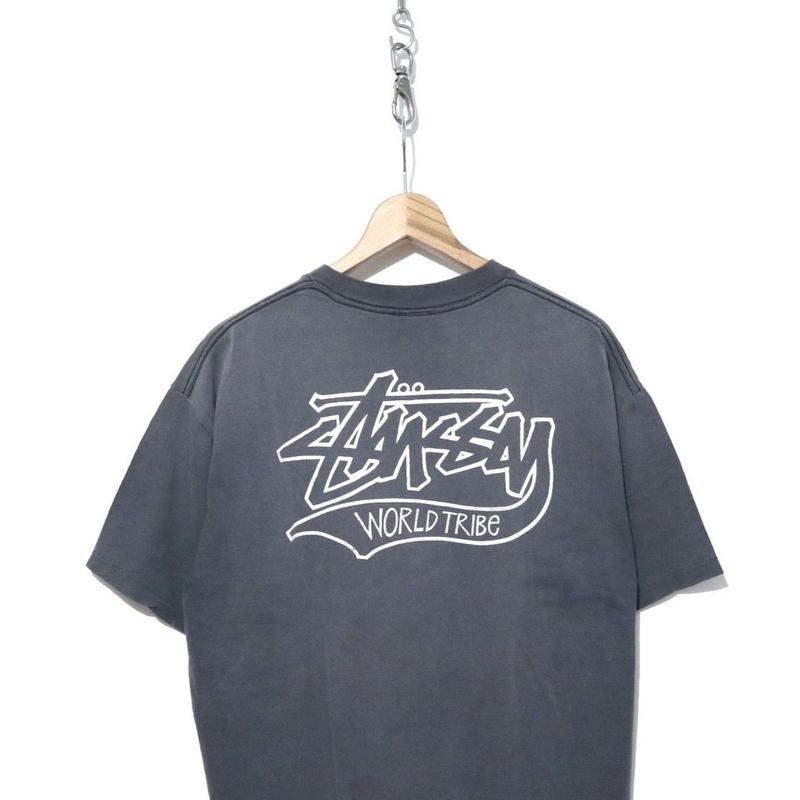 90's OLD STUSSY プリントTシャツ BLACK 黒タグ XLサイズ USA製