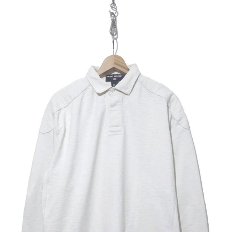 "90's POLO SPORT 無地 ""WHITE"" コットン ラガーシャツ Lサイズ"