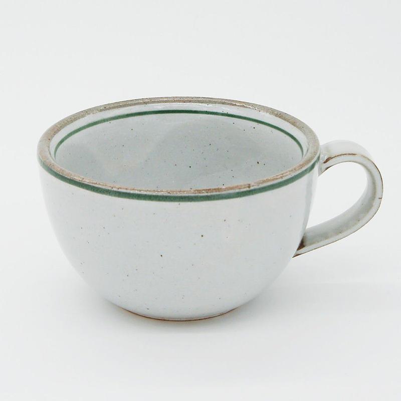 【M032gr】パンとごはんと...  一本線の白い器 SOUP MUG  green