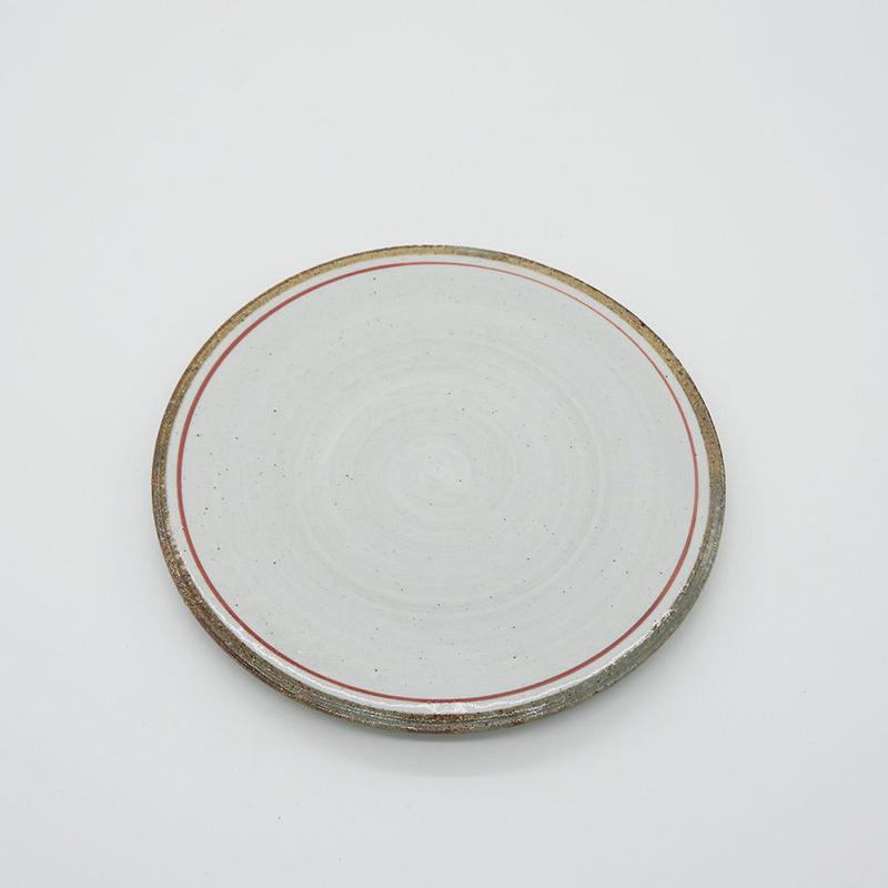 【M029rd】パンとごはんと...  一本線の白い器 PLATE S red