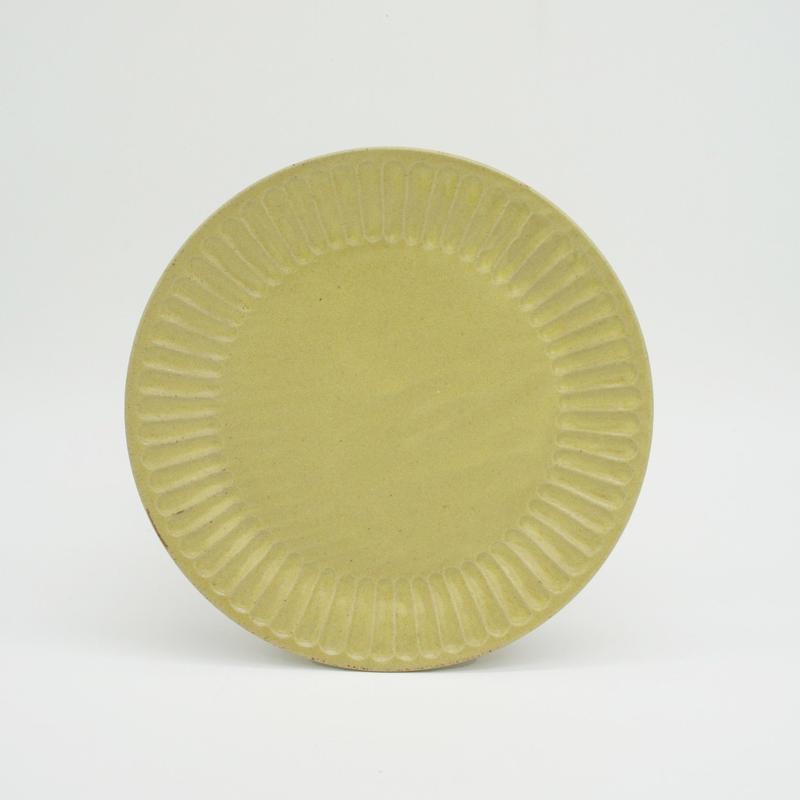 【M043yl】パンとごはんと... ひらひらの器 ROUND PLATE M yellow