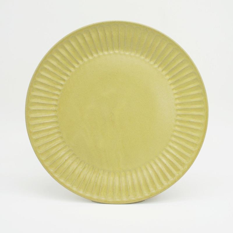 【M044yl】パンとごはんと... ひらひらの器 ROUND PLATE L yellow