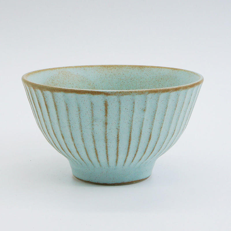【M036bl】パンとごはんと... しのぎの茶碗  blue