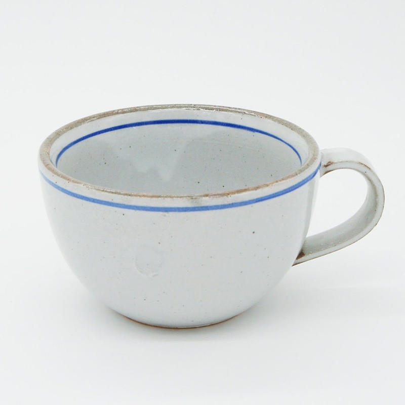 【M032bl】パンとごはんと...  一本線の白い器 SOUP MUG  blue