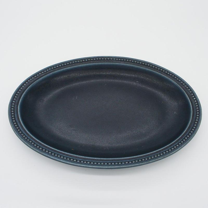 【M017nv】パンとごはんと... リムドット オーバルプレート L navy
