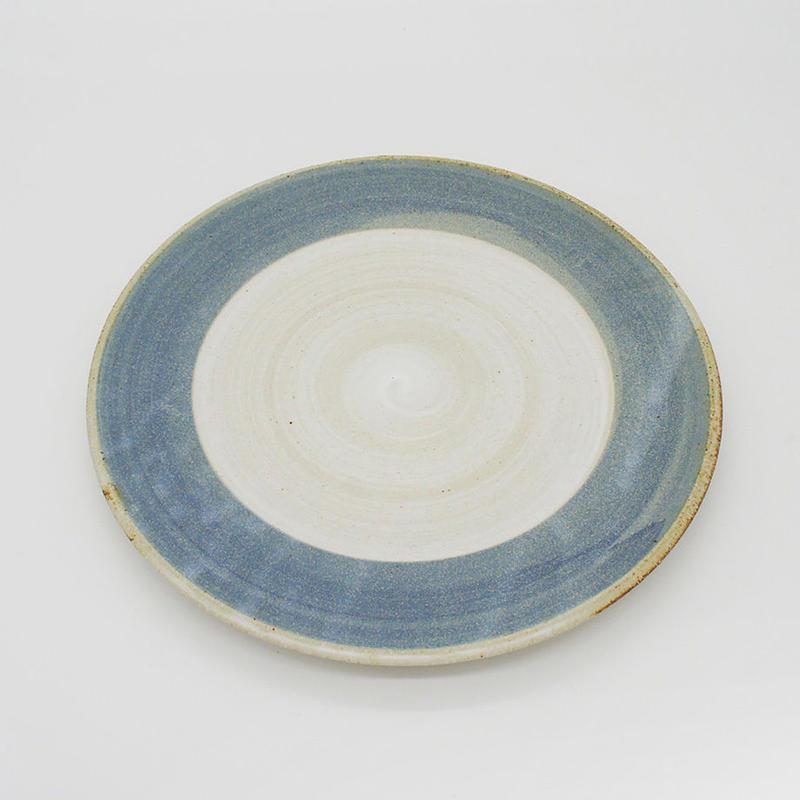 【M002bl】パンとごはんと...  まるい縁取りの陶器 PLATE M blue