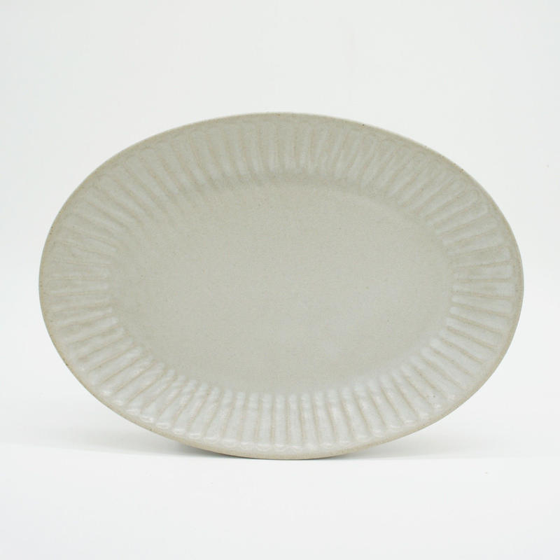 【M039wh】パンとごはんと... ひらひらの器 OVAL PLATE M white