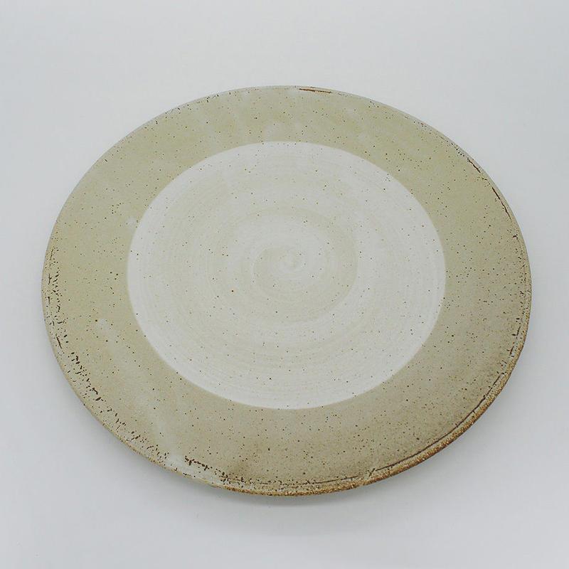【M003gy】パンとごはんと...  まるい縁取りの陶器 PLATE L gray