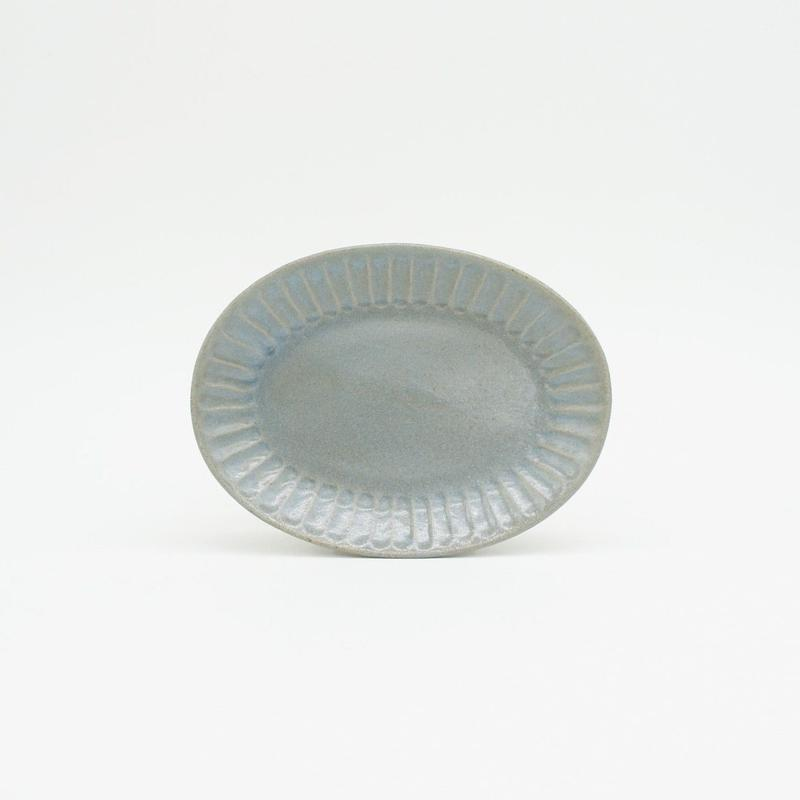 【M040bl】パンとごはんと... ひらひらの器 OVAL MINI PLATE blue