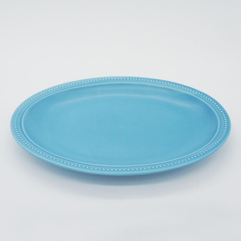 【M017sx】パンとごはんと... リムドット オーバルプレート L sax blue