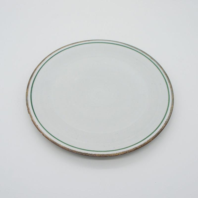 【M030gr】パンとごはんと...  一本線の白い器 PLATE M green