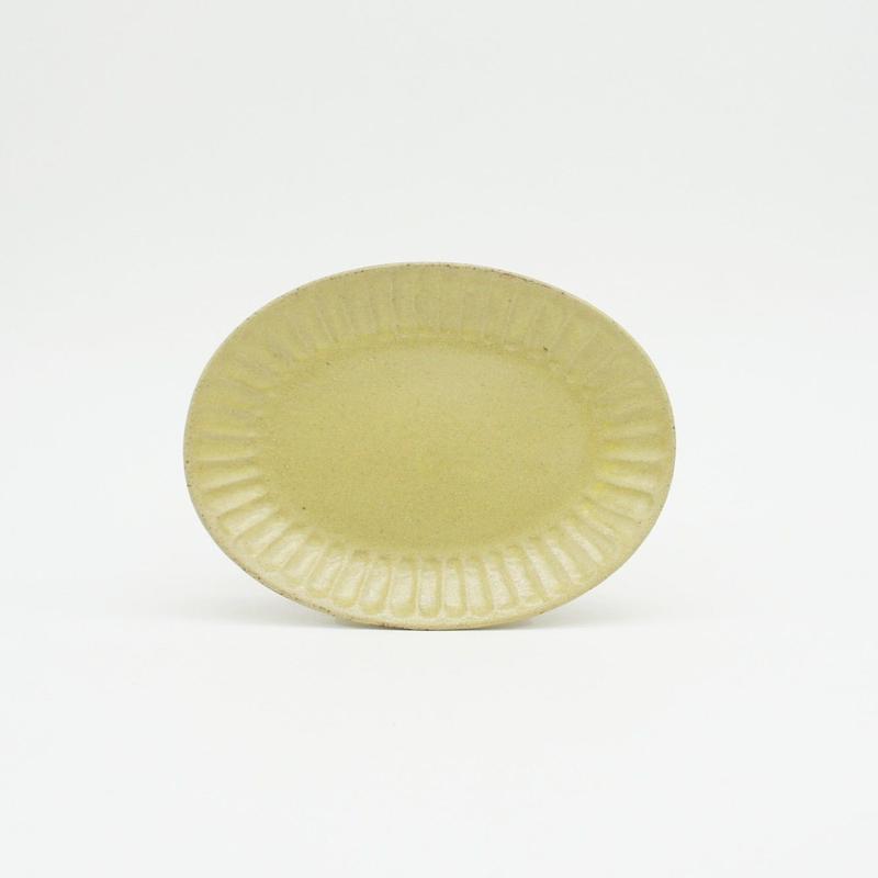 【M040yl】パンとごはんと... ひらひらの器 OVAL MINI PLATE yellow
