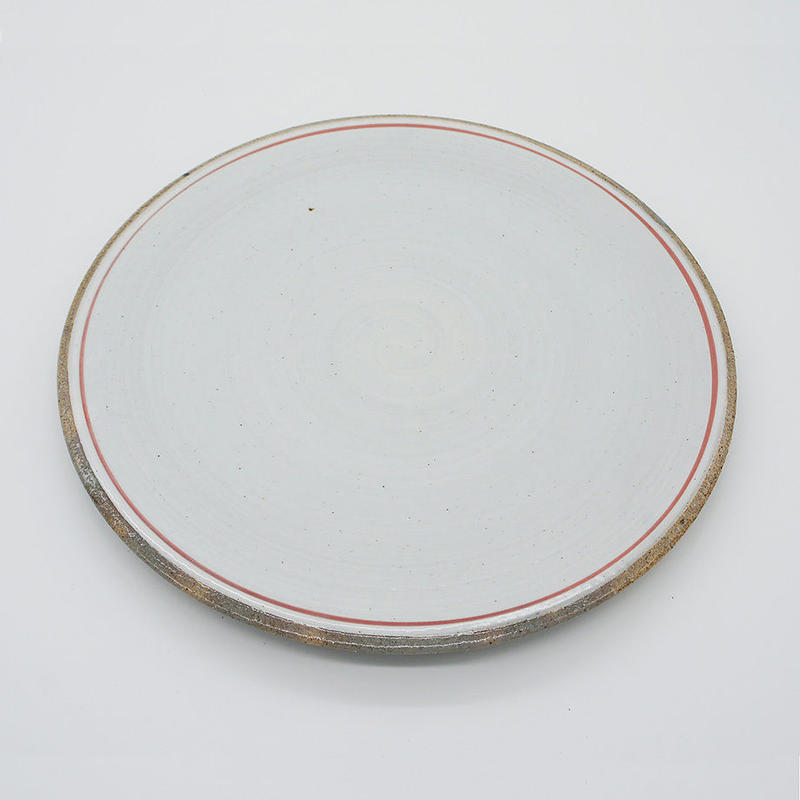 【M031rd】パンとごはんと... 一本線の白い器 PLATE L red