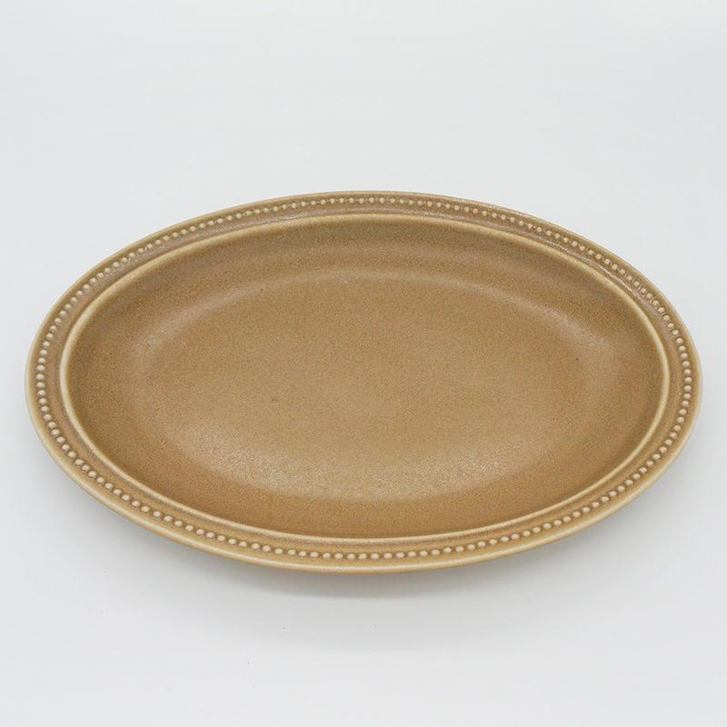 【M017mc】パンとごはんと... リムドット オーバルプレート L mocha