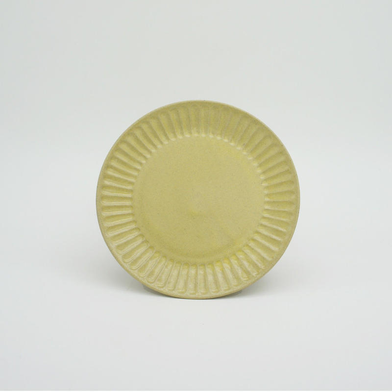 【M042yl】パンとごはんと... ひらひらの器 ROUND PLATE S yellow