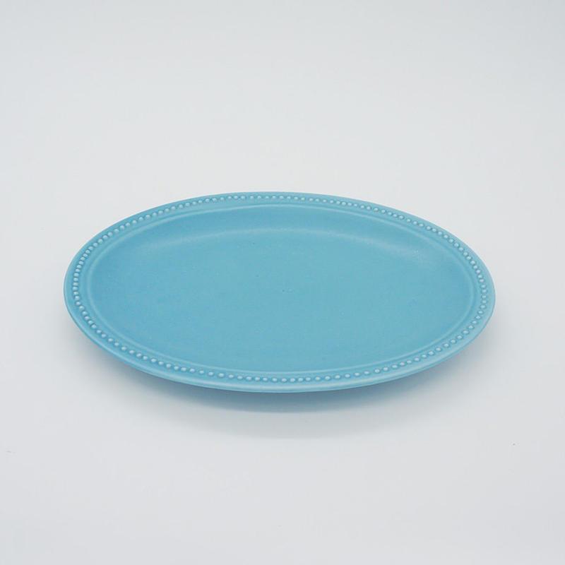 【M016sx】パンとごはんと... リムドット オーバルプレート S sax blue