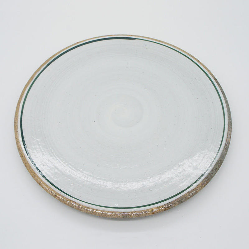 【M031gr】パンとごはんと... 一本線の白い器 PLATE L green