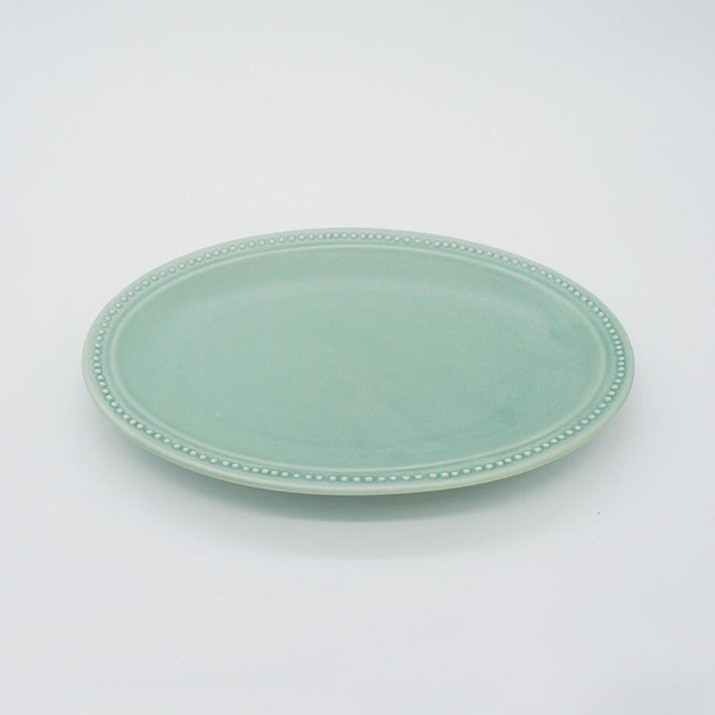【M016gr】パンとごはんと... リムドット オーバルプレート S green