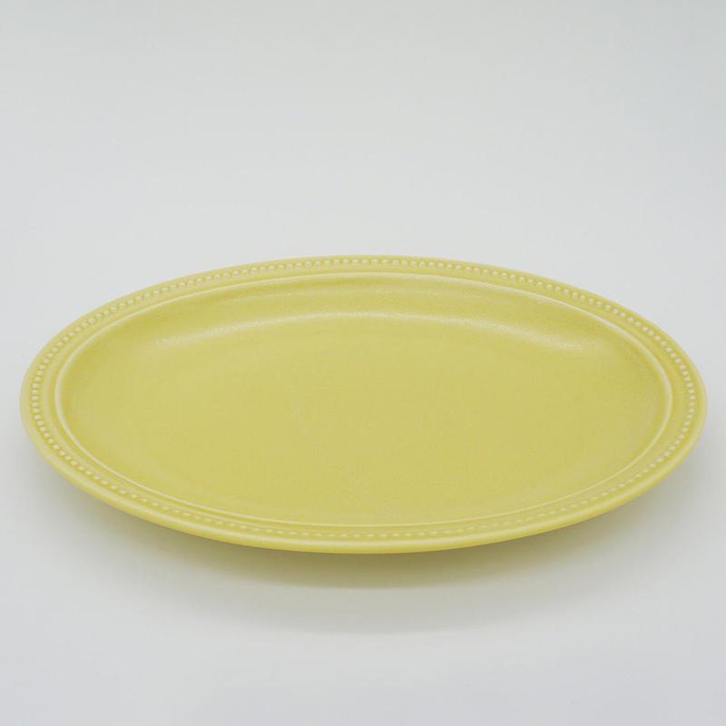 【M017yl】パンとごはんと... リムドット オーバルプレート L yellow