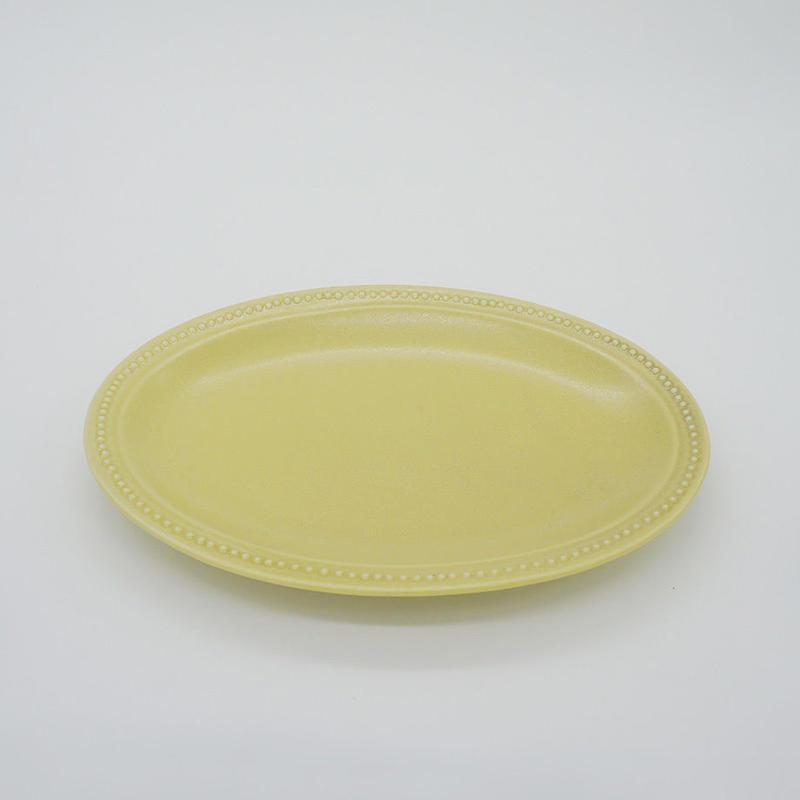 【M016yl】パンとごはんと... リムドット オーバルプレート S yellow