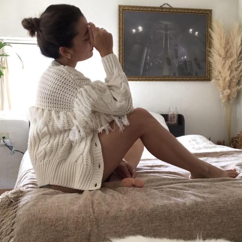 <ADIRA>fringe knit cardigan AR184KT12