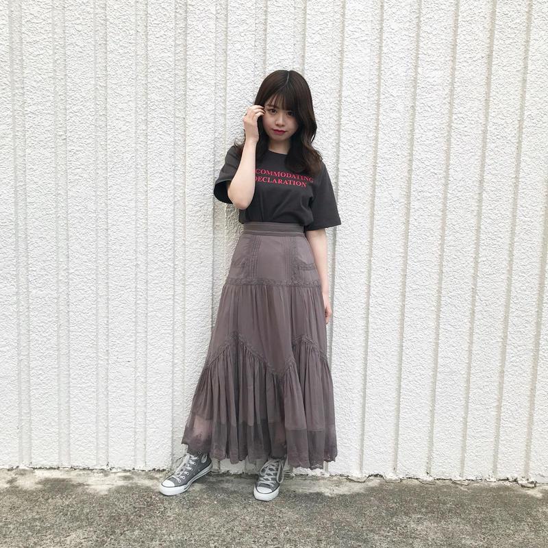 <ADIRA>pin tuck detail long skirt AR181SK10