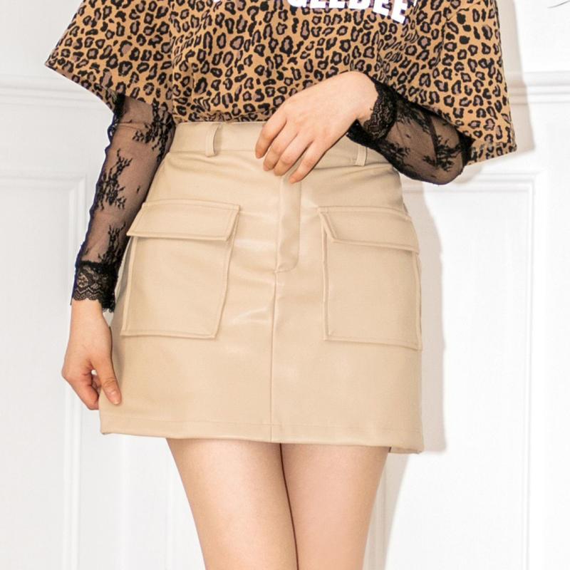 <ANDGEEBEE>フェイクレザースカート AG191SK10