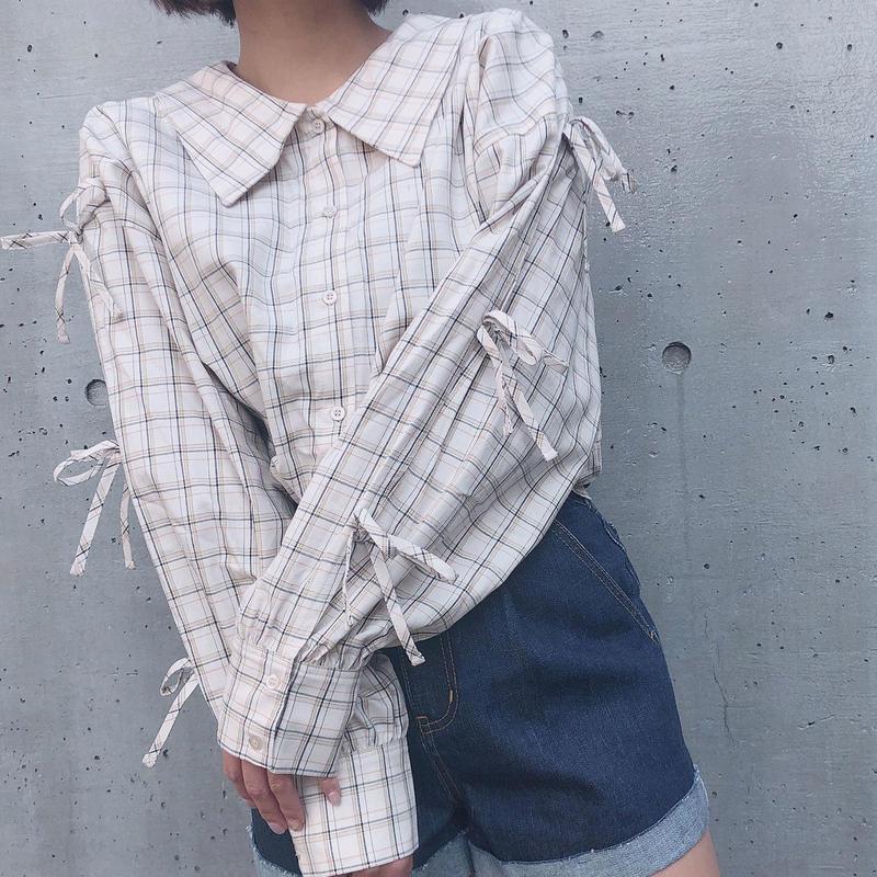 <ANDGEEBEE>リボンスリーブチェックシャツ AG191SH04